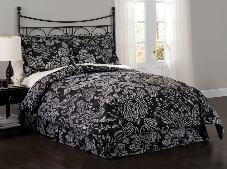 Sketch damask comforter set black and silver