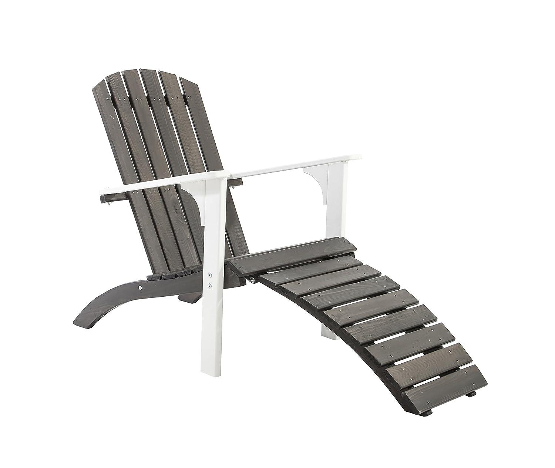 Ambientehome Adirondack Chair Deckchair Liege Gartenliege Massivholz inkl. Fussteil FALUN, Weiß/Taupegrau