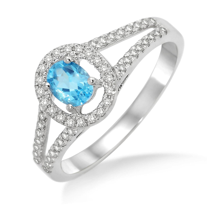 Miore Damen-Ring 375 Weißgold Blau Topas 0,45ct Brillanten Weiß 0,26ct MP9006RM günstig kaufen