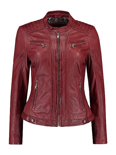 Rino Pelle Damen Lederjacke Bikerjacke Rot,Braun Echtleder Tailliert Gr. 36 - 48