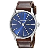 Nixon Sentry Leather A1051524-00. Blue and Brown Watch (42mm Blue/Silver Watch Face/23mm Brown Leather Band) (Color: Blue/Brown, Tamaño: One Size)