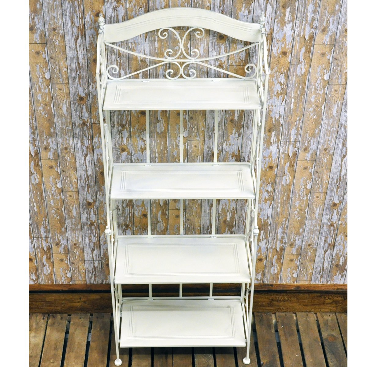 Rustic Finish Antique White Cream Painted Metal 4 Shelf Foldable Display Bakers Rack       Customer reviews and more information