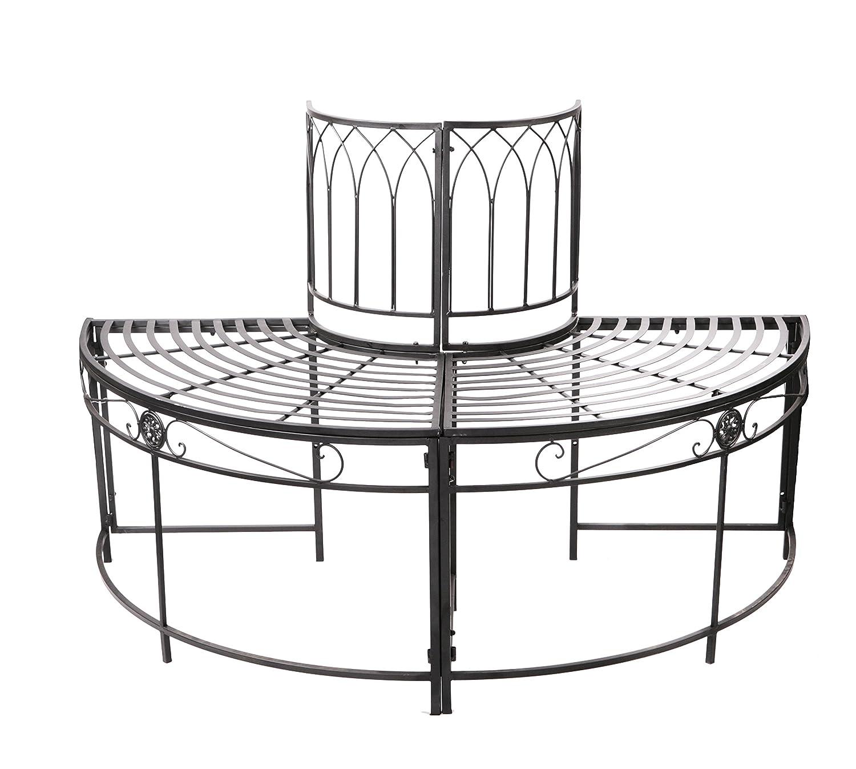 Ischia, halbrunder Gartenbaum-Sitzplatz aus Stahl – schwarz online bestellen