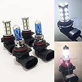 Combo 9006-HB4 White 100 Watt Halogen 5000K 9005-HB3 LED 18-SMD Light 6000K Xenon Lamp Headlight Bulb High/Low Beam Auto