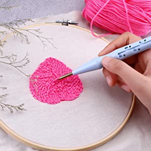 Embroidery Pens Adjustable Sewing Stitchwork Punch Needle Weaving Tools for Stitching Applique Embellishment Blue
