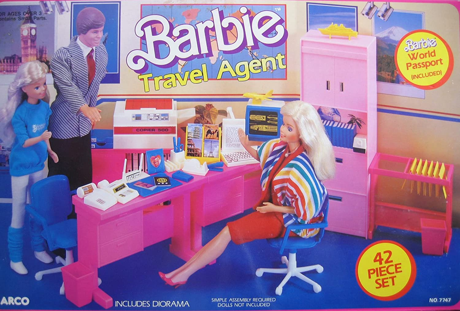 Vintage Barbie playsets like these, the Travel Agent set, as on Amazon