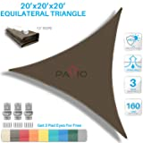 Patio Paradise 20' x20'x 20' Brown Sun Shade Sail Triangle Canopy - Permeable UV Block Fabric Durable Outdoor - Customized Available