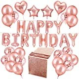 Whaline 50 Pcs Happy Birthday Balloons Set Rose Gold Including Happy Birthday Balloons with 4pcs Foil Balloons and 30 Rose Gold Confetti Balloons with 2 Rolls Foil Ribbon and 1 Table Runner (Color: Style 2)