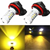 Alla Lighting Super Bright H11 LED Fog Lights 2000 Lumens High Power 3030-SMD LED H11 3000K Yellow H11LL H8LL H8 H16 H11 LED Bulb H11 Yellow Fog Lights Lamp Bulbs Replacement w/Projector (Set of 2) (Tamaño: H11 (H8 H16))