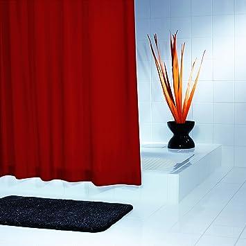ridder 453160 350 duschvorhang textil 180 x 200 cm inkusiv ringe madison uni rot dc496. Black Bedroom Furniture Sets. Home Design Ideas