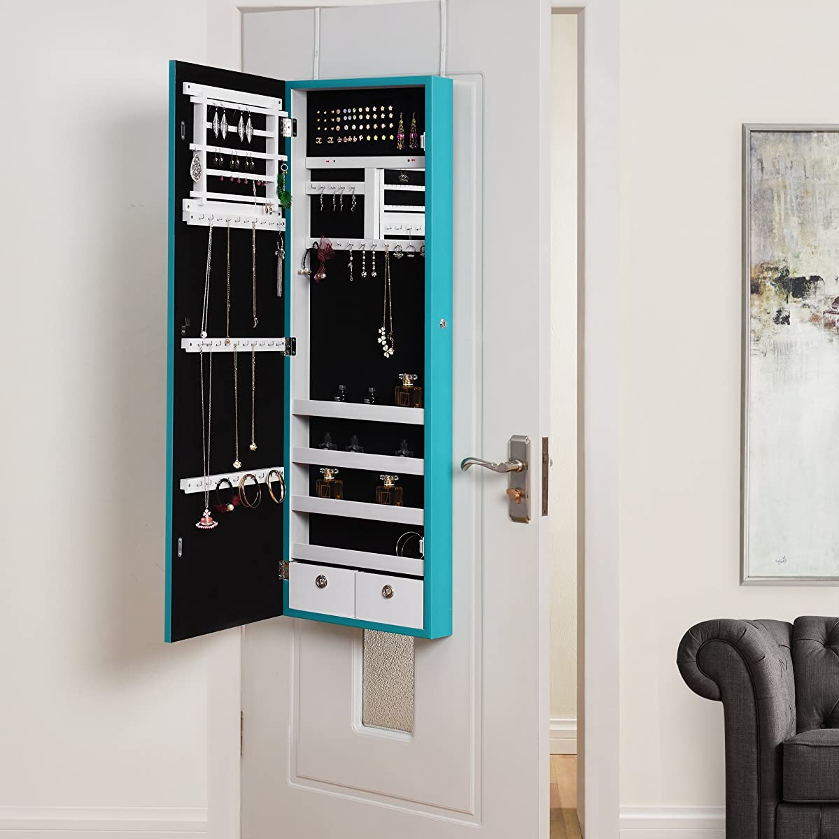 Inspired Home Julie Full Length Over The Door/Wall Mounted Jewelry Armoire  Mirror Makeup Storage Organizer ...