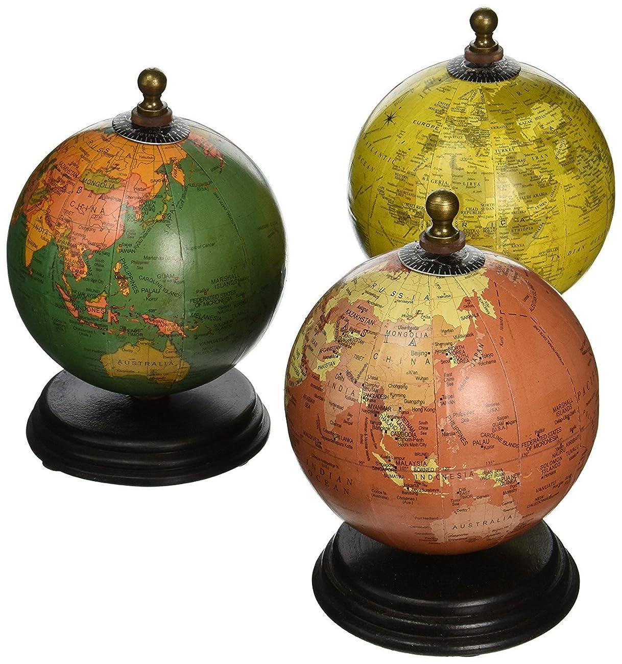 IMAX 73027-3 Antique Finish Mini Globe on Wood Base Artwork, Set of 3 1