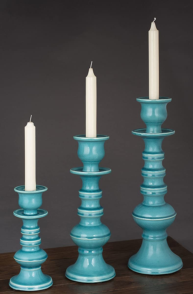 "True Grit Fine Ceramic Round Base Natural Wash Finish Tall Taper/Pillar Decorative Candlestick Holder 11 4/5"" Height x 4 3/8"" Width"
