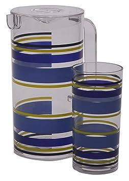 epicurean europe verre verre highball motif rayures bleu jaune 8 x 8 x x 16 cm cuisine. Black Bedroom Furniture Sets. Home Design Ideas