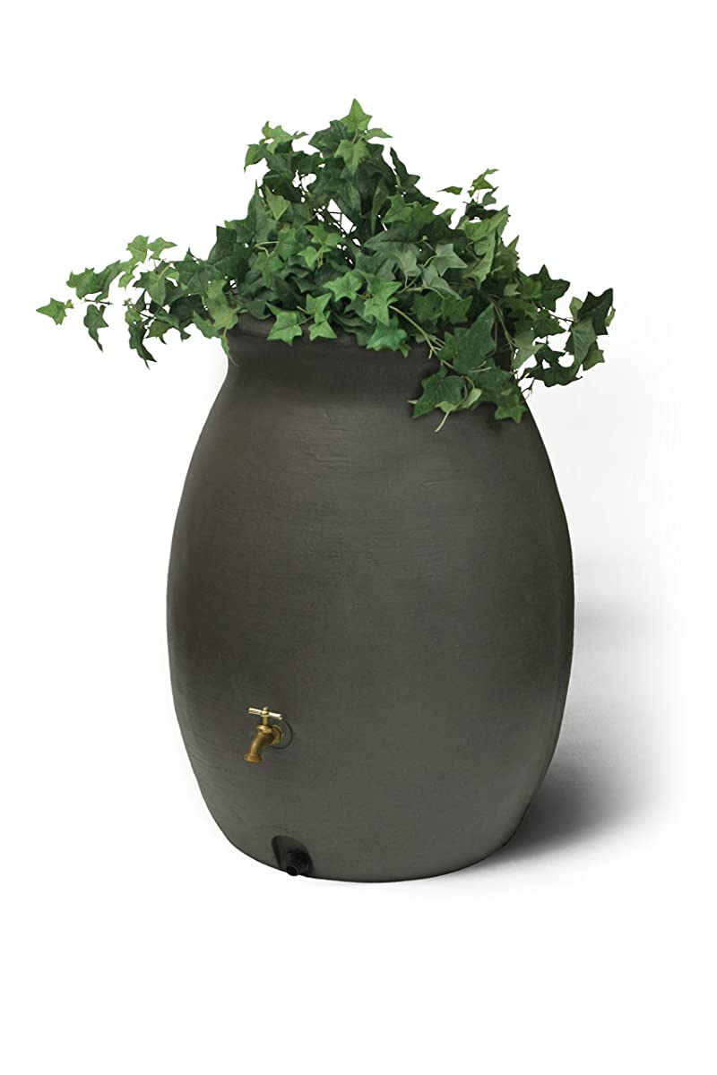 Algreen 81113 Castilla Rain Barrel with Brass Spigot, Dark Brown, 50-Gallon