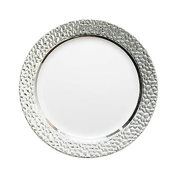 decorline vaisselle de luxe luxe usage unique blanc avec avec bord en argent effet. Black Bedroom Furniture Sets. Home Design Ideas