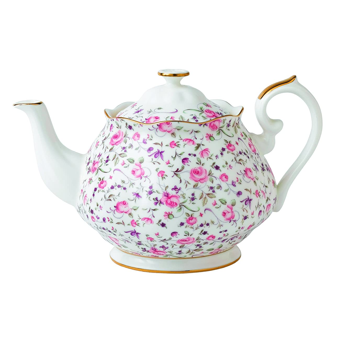 Royal Albert Rose Confetti Formal Vintage Teapot, White 0