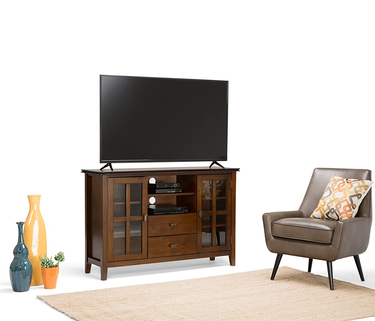 "Simpli Home Artisan TV Media Stand for TVs up to 60"", Medium Auburn Brown"