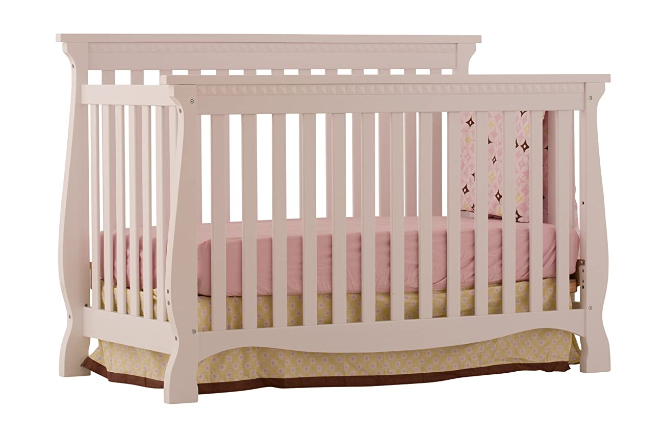 Stork Craft Venetian 4-in-1 Fixed Side Convertible Crib, White 0