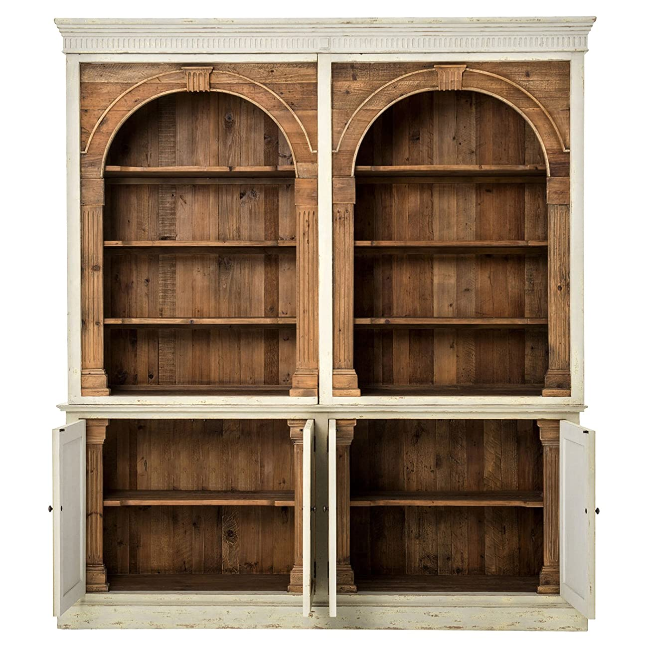 Laurine French Country Rustic Ivory Arch Wood Cabinet 1