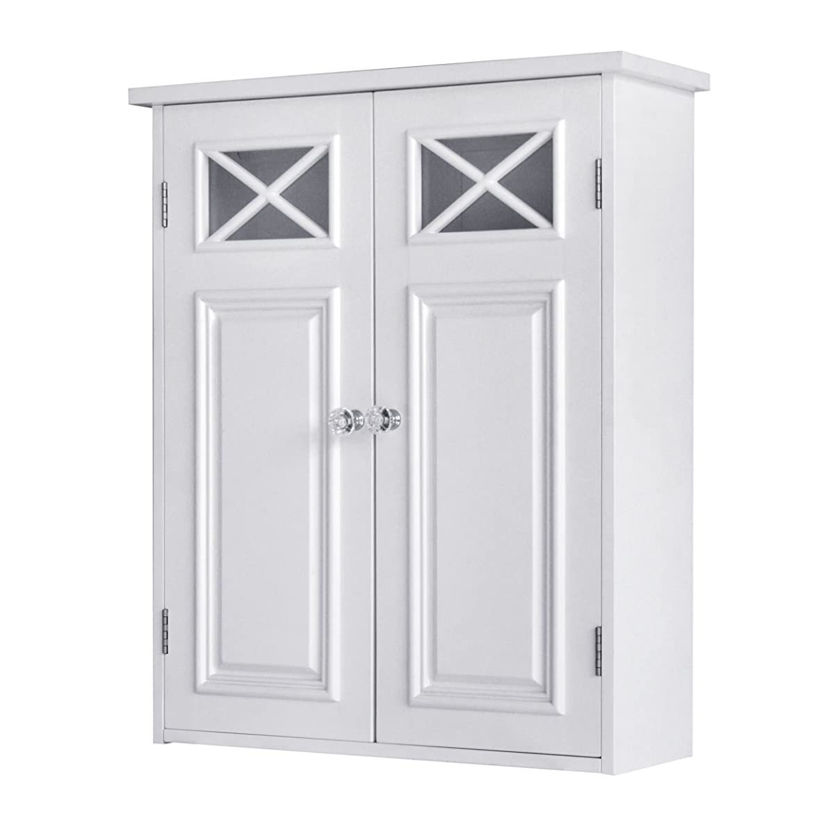 Elegant Home Fashions Dawson Collection Shelved Wall Cabinet, White