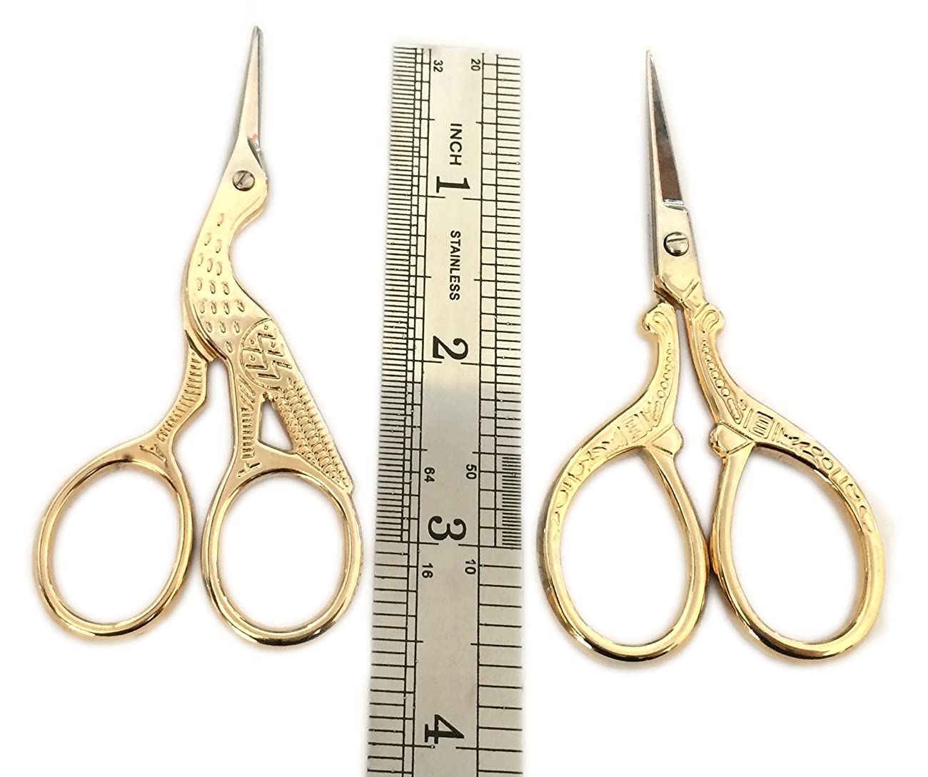 TWO High Quality 3.5 Inch Gold Plated Stainless Steel Scissors for Embroidery, Sewing, Craft, Art Work & Everyday Use - Ideal as a Gift 1