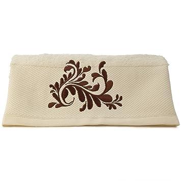 serviette de bain brod e royal royal beige clair et brun brun 70x140 cm cuisine. Black Bedroom Furniture Sets. Home Design Ideas