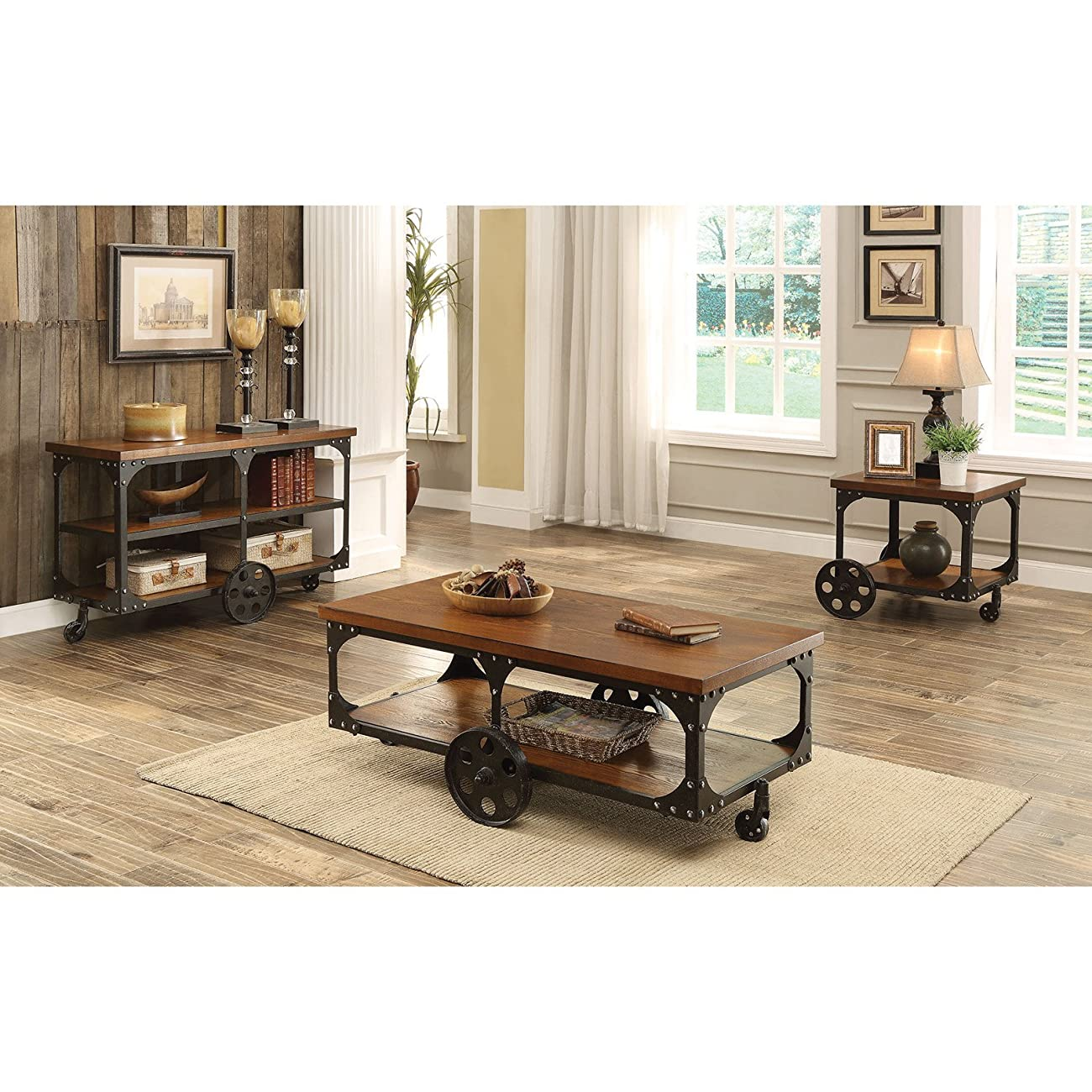 Coaster 701128 Home Furnishings Coffee Table, Rustic Brown 1
