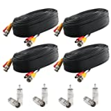 Postta BNC Video Power Cable (4 Pack 25 Feet) Pre-Made All-in-One Video Security Camera Cable Wire with Eight Connectors for CCTV DVR Surveillance System (Color: 4 Pack, Tamaño: 25 FT)