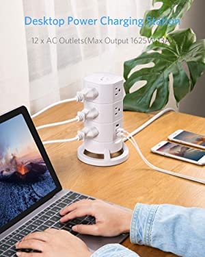 BESTEK 12-Outlet Power Strip Tower Surge Protector with 3 USB Charging Ports,Exclusive Stackable Design,6 Feet Cord,White (Color: White, Tamaño: 12-Outlet+3 USB)