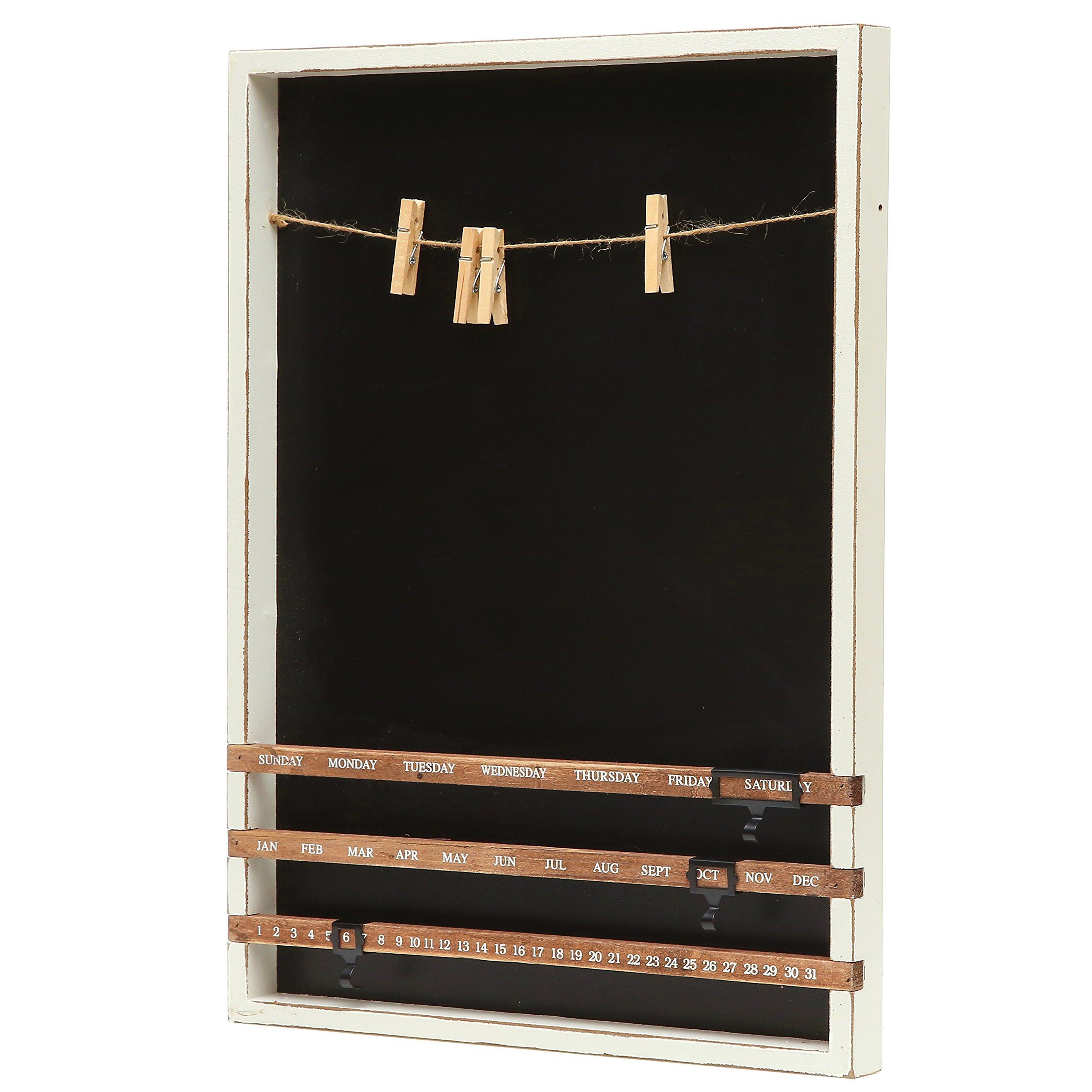 Wall Mounted Wood Frame Chalkboard W Vintage Wood Sliding Calendar Amp Clip Photo Holder W Twine