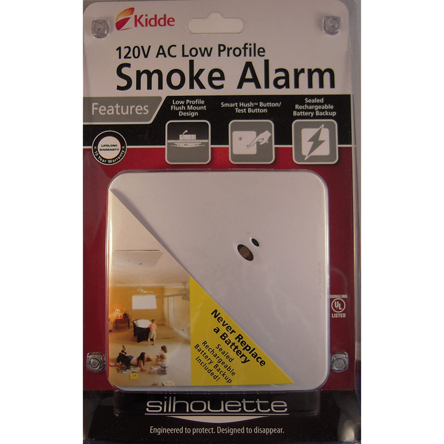 new kidde silhouette smoke alarm 120v hardwired low profile knsmfm i 21007288 ebay. Black Bedroom Furniture Sets. Home Design Ideas