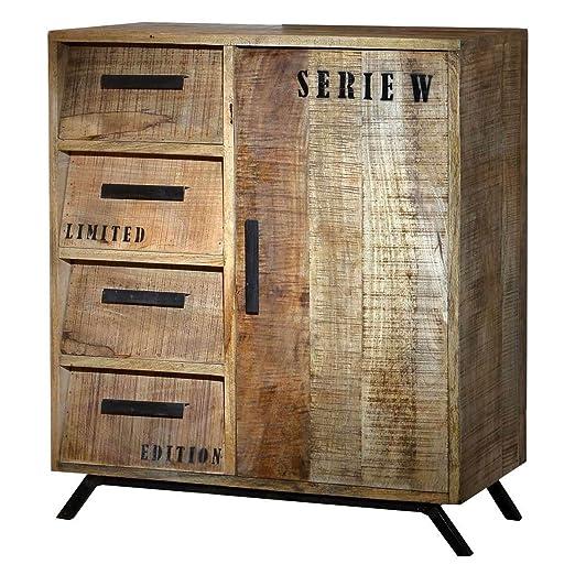 Kommode Anrichte Sideboard Romsdal Retro Vintage Design Massivholz Mangoholz Natur Breite 80 cm Tiefe 40 cm Höhe 92 cm