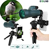 ESSLNB Monocular 12x50 Monocular Telescope BAK4 & FMC Waterproof Monocular with Smartphone Adapter and Tripod for Bird Watching Hunting Camping