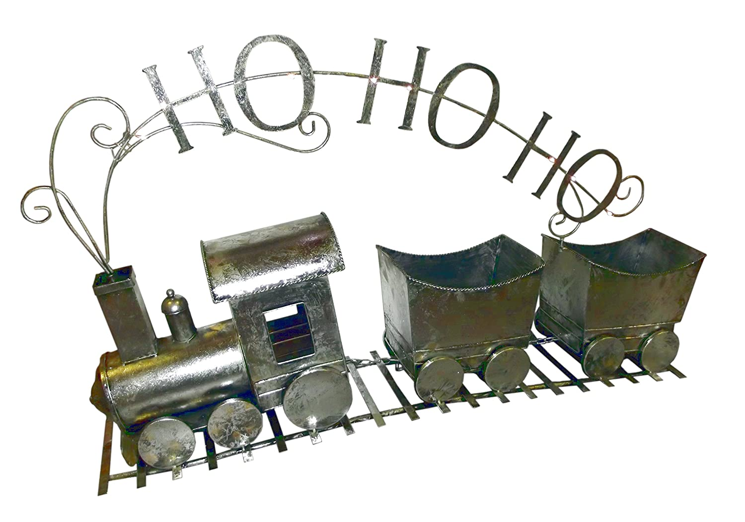 4' 4Ft Lighted Antique Silver Pewter Metal Train Christmas