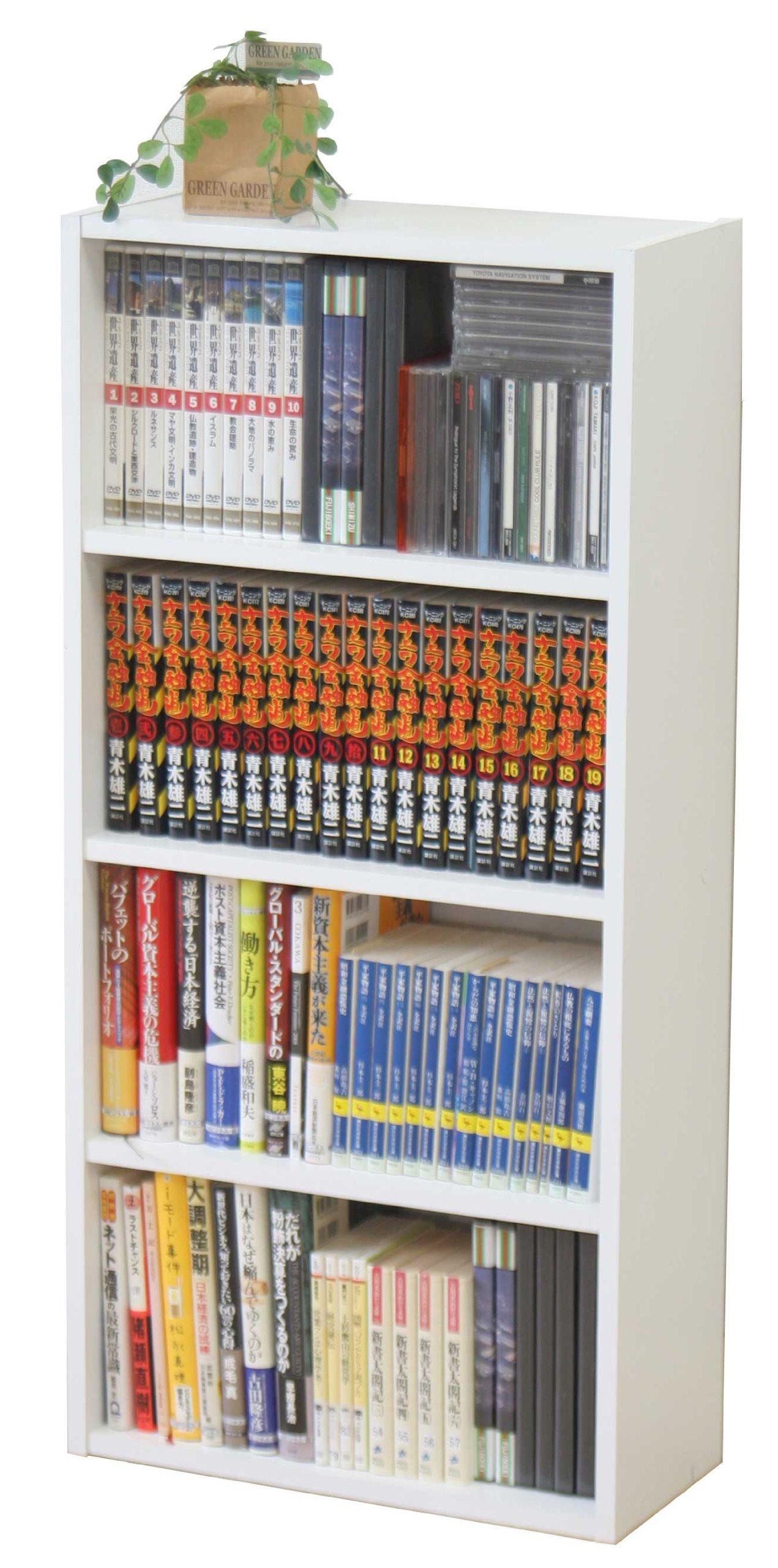 不二貿易 リビング収納 BD ラック (BOOK&DVD) HP9418/ 文庫本ラック (ホワイト) 81397