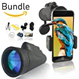 GrayLu HD Monocular 12x50 Compact High Power Dual Focus Zoom-ed Scope - - with Phone Adapter and Tripod - - Universal Mount, Monoscope Lens, Best Kids Telescope, Monoculars for Adults, Monoscopes (Color: Best Black)