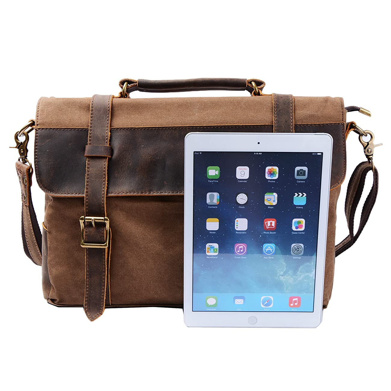 S ZONE Vintage Canvas Leather Messenger Traveling Briefcase Shoulder Laptop Bag 3
