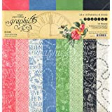 Graphic 45 4501777 Flutter 12x12 Patterns & Solids Pad Craft Paper, 12-x-12-Inch, Multi (Color: Multi, Tamaño: 12-x-12-Inch)