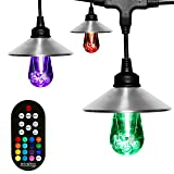 Enbrighten Seasons LED Warm White & Color Changing Café String Lights with Stainless Steel Lens Shade, Black, 48ft, 24 Impact Resistant Lifetime Bulbs, Wireless, Weatherproof, Indoor/Outdoor, 43384 (Color: Black Stainless Steel, Tamaño: 48 ft.)