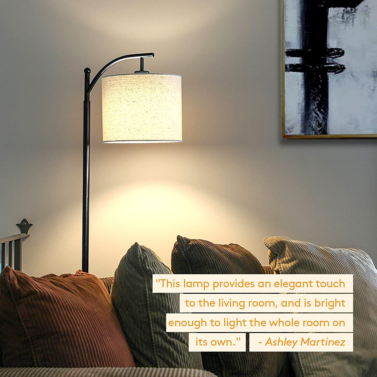 Brightech Montage LED Floor Lamp- Classic Arc Floor Lamp with Hanging Lamp Shade - Tall Industrial Uplight Lamp for Living Room, Family Room, Office or Bedroom, Energy Saving and Long Lasting- Black