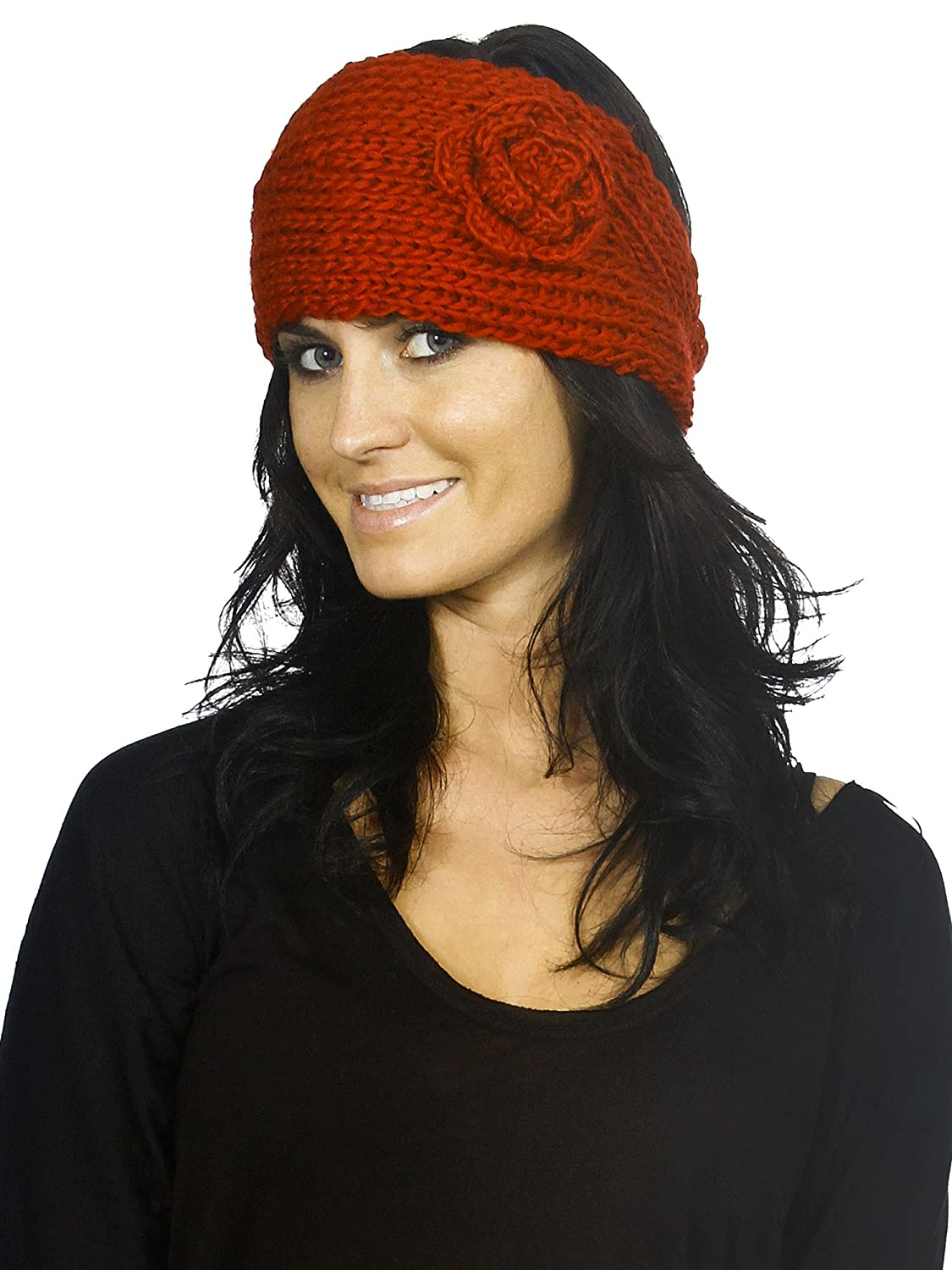 Red Color Knitted Headwrap - Bordeaux Color With Side Flower