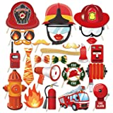 Kristin Paradise 25Pcs Fireman Photo Booth Props with Stick, Firefighter Theme Selfie Props, Fire Truck Birthday Party Supplies, Fire Fighter Photography Backdrop Decorations for Photobooth (Color: Fireman Photo Booth Props)