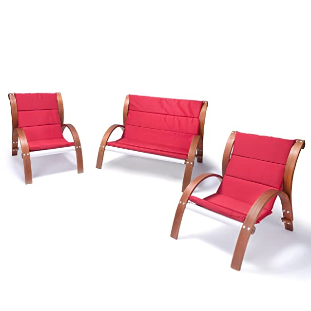 Ampel 24, Set di mobili da giardino MALIBU | Panchina e sedie con braccioli | Con cuscino rosso | Schienale di legno alto