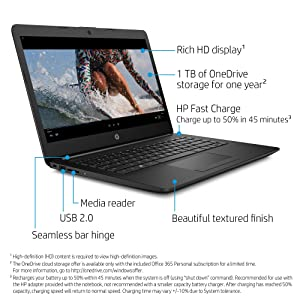 HP 14-inch Laptop, AMD A4-9125 Processor, 4 GB SDRAM, 32 GB eMMC, Windows 10 Home in S Mode (14-cm0041nr, Jet Black)