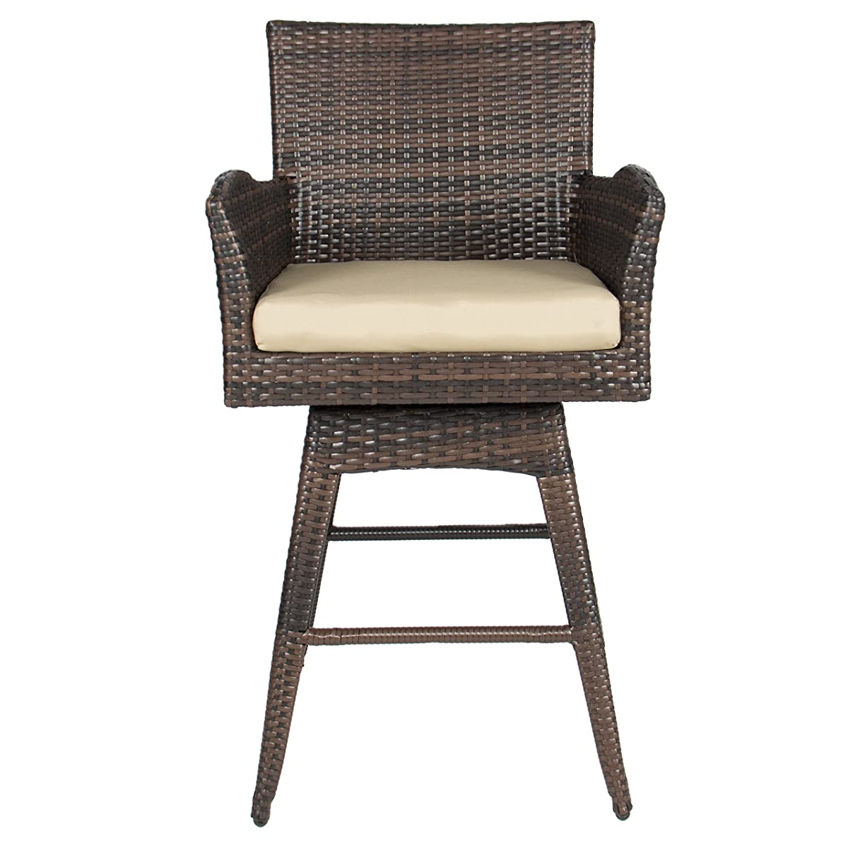 Best Choice Products Outdoor Patio Furniture All-Weather Brown PE Wicker Swivel Bar Stool w/Cushion