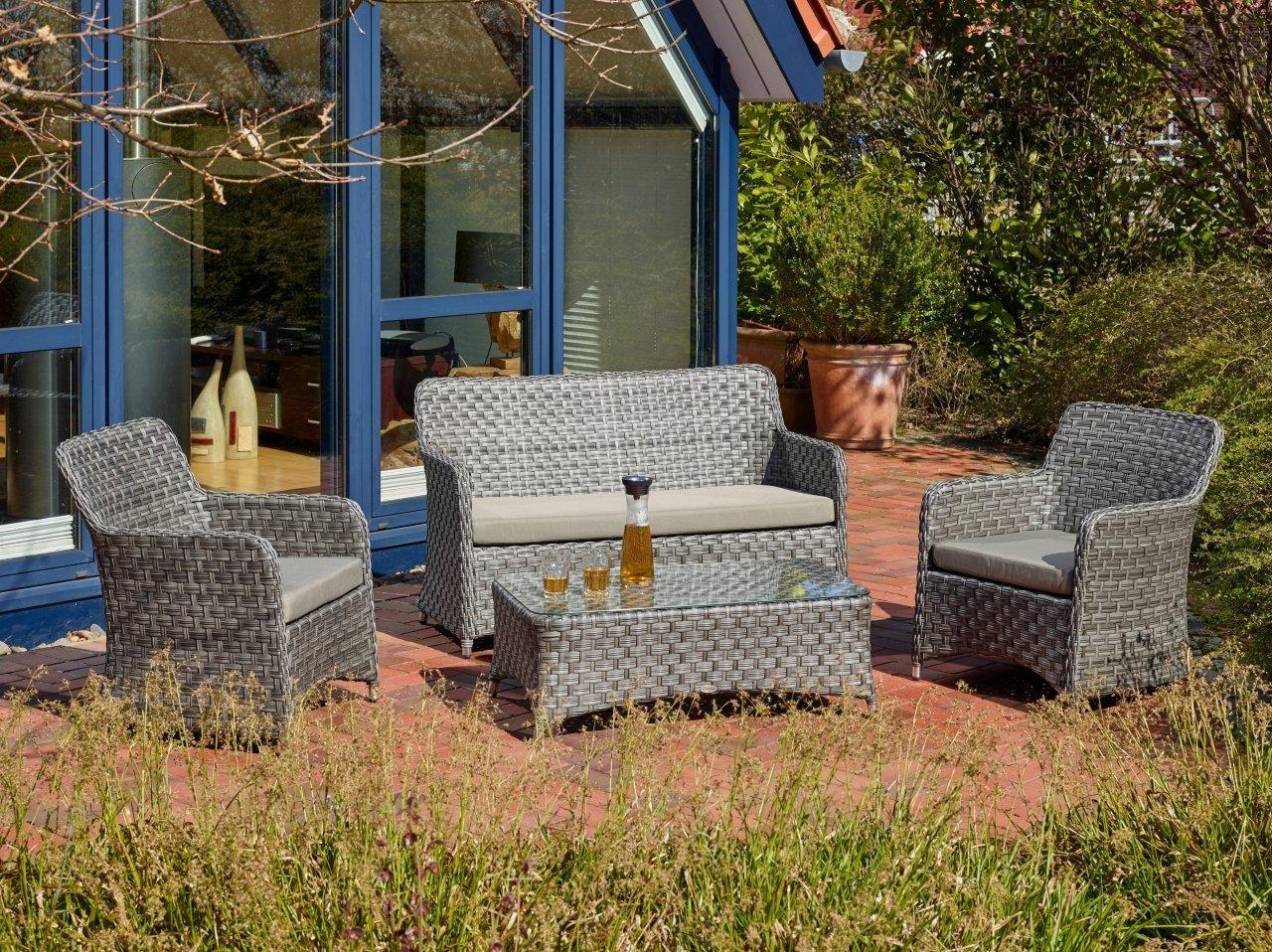 Destiny Lounge Bari Grey Loungeset Polyrattan Loungegruppe Gartenmöbelset