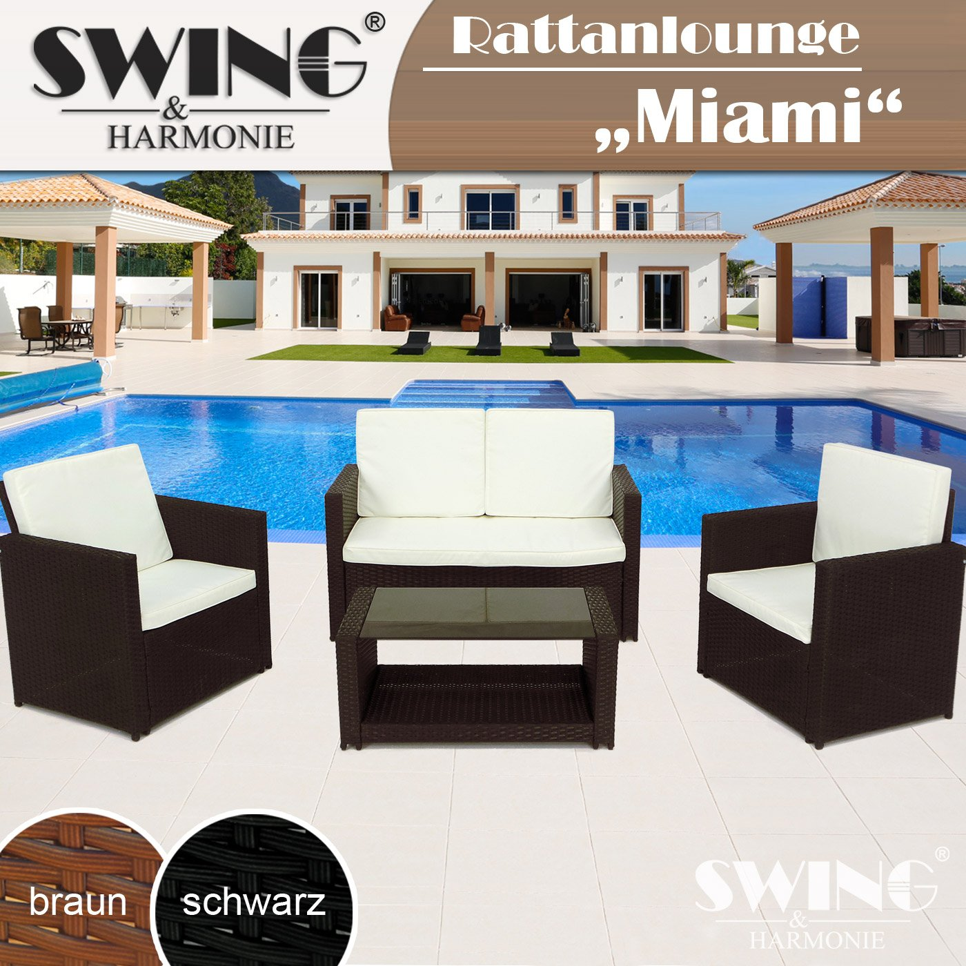 rattan lounge sitzgruppe f r 4 personen sitzgarnitur gartenm bel polyrattan sofa g nstig kaufen. Black Bedroom Furniture Sets. Home Design Ideas