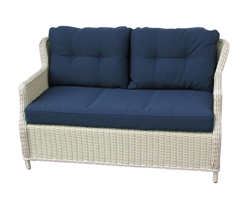 Sofa 2 sitzer Balkon, Terasse Wohnzimmer oder Garten – Elegant & Komfortabel – hochwertig mit Aluminiumrahmen – 10 cm Kissenauflage – Polyrattan – Rattan zweisitzer bestellen