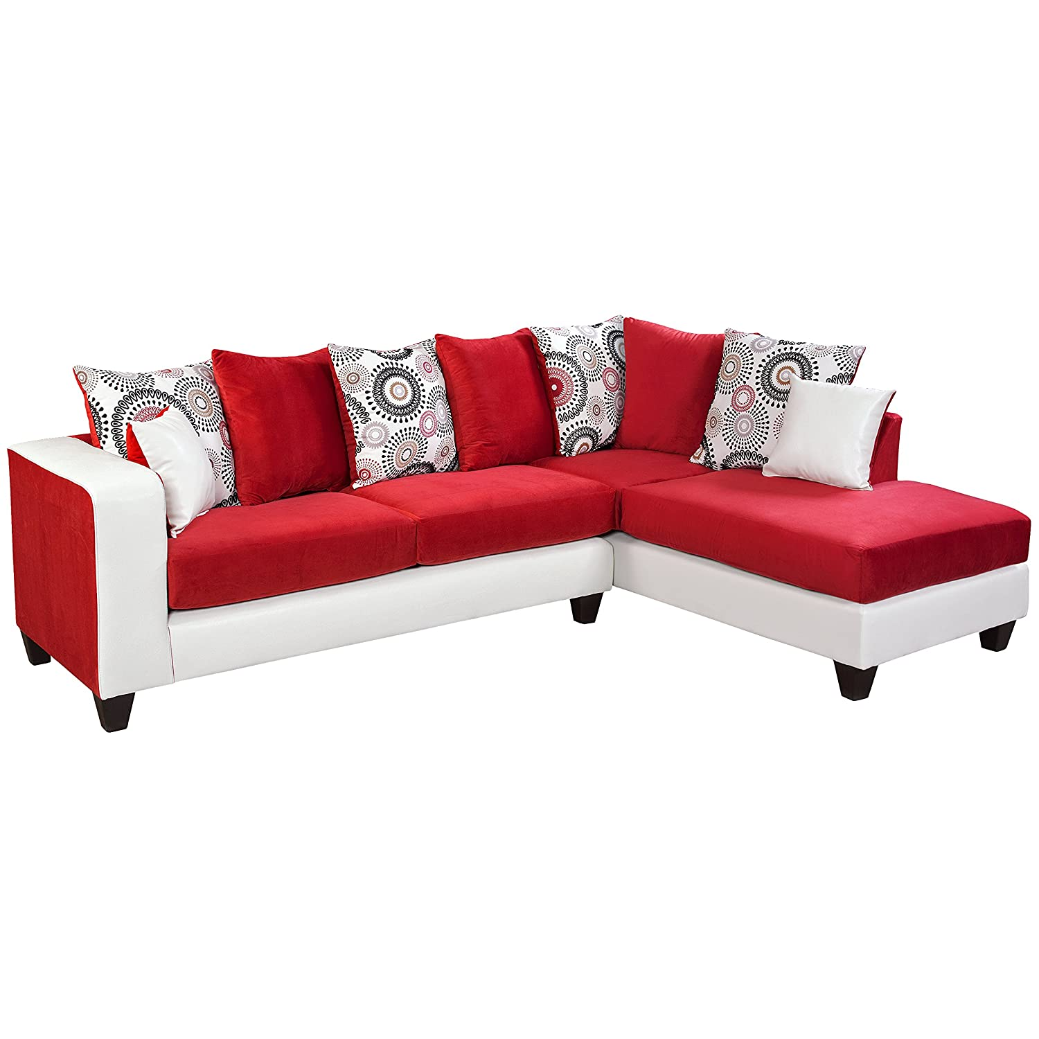 Flash Furniture Riverstone Implosion Velvet Sectional Sofa - Red